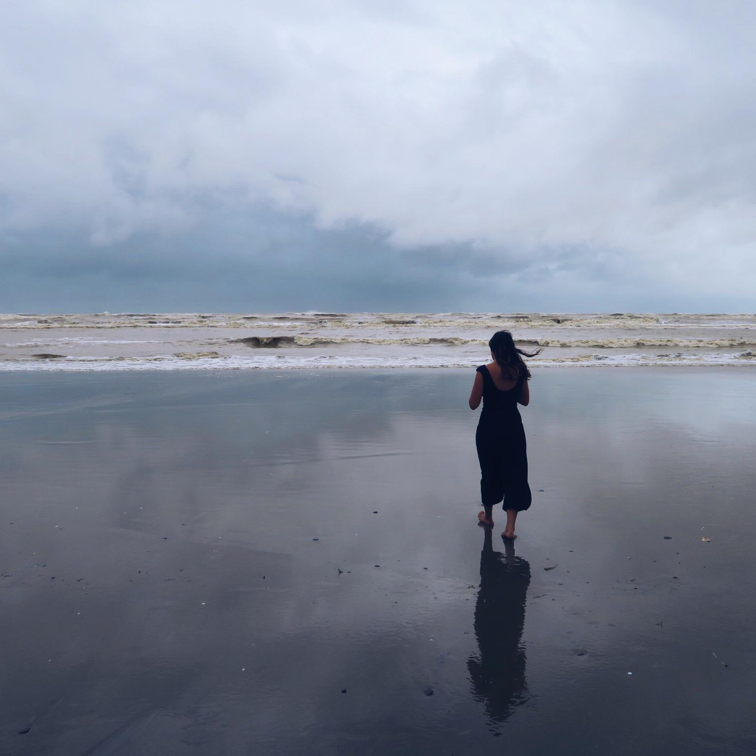 Beach walks in the rain