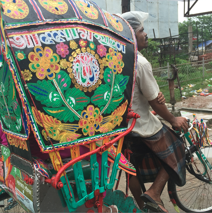 The beautiful colours and designs on the cycle rickshaws