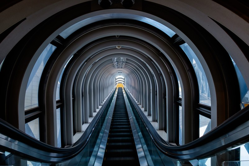 The amazing escalator between the two skyscrapers of the Umeda Sky Building in Osaka