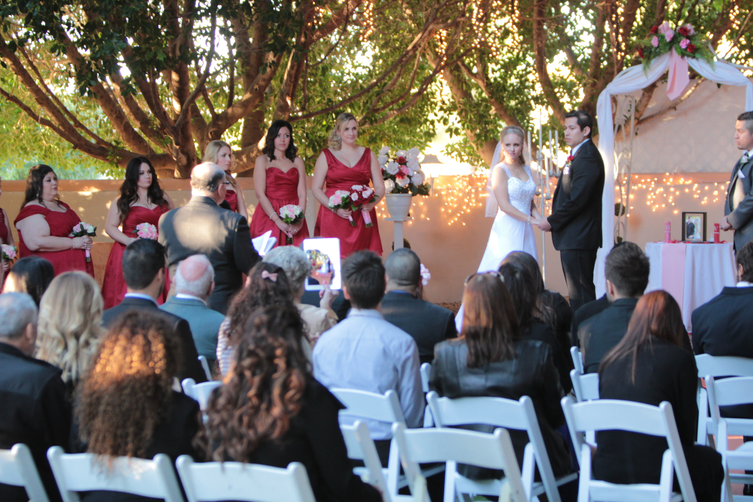 Wide angle picture of wedding ceremony.