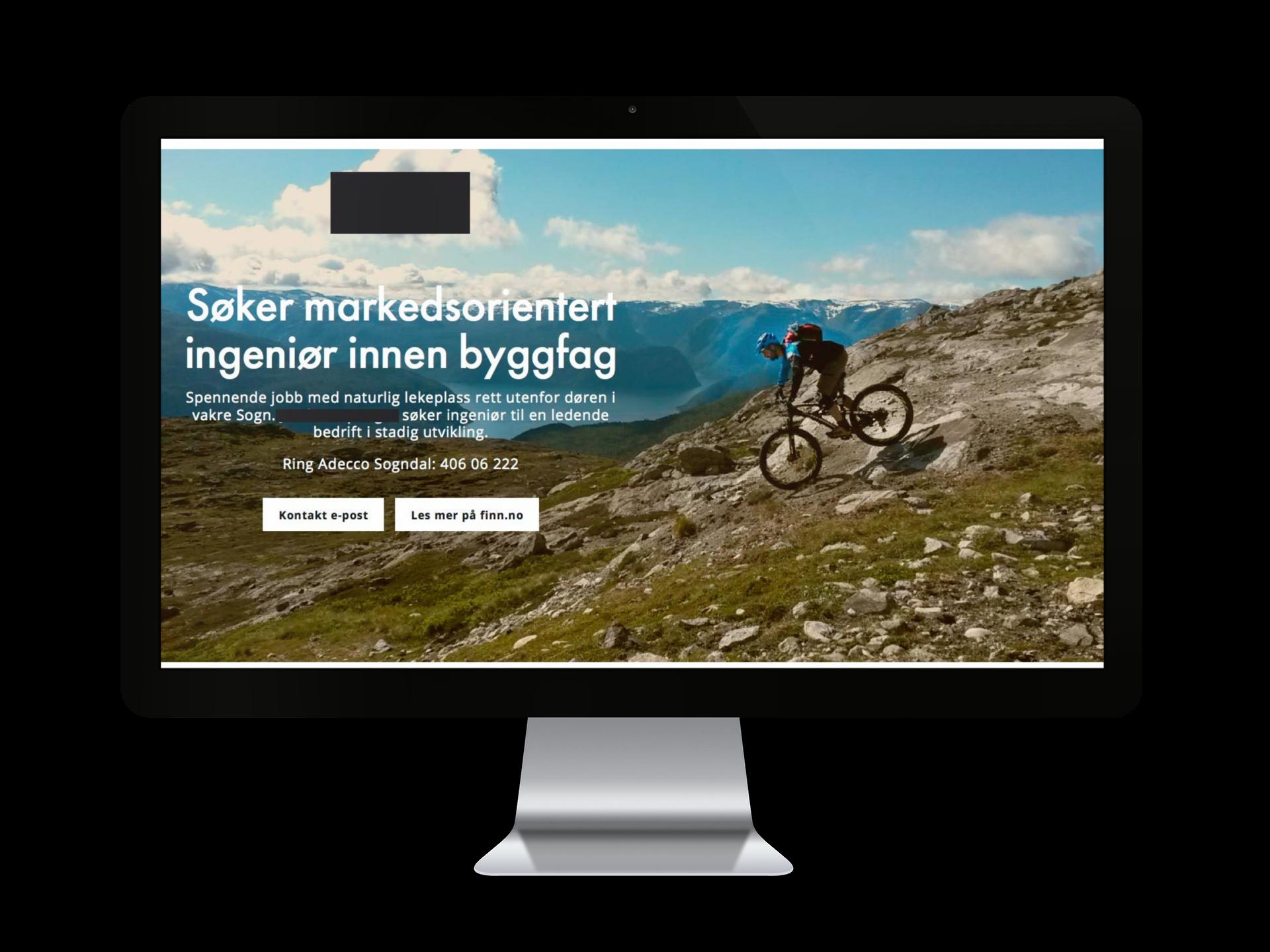 Adecco Sogndal - Driv med rekruttering, ønskja hjelp til å lage ei mer kreativ annonse for ei kunde. Men finn.no som landingsside, knytta vi opp annonsa med ei eiga side til annonsering i Google AdWords, i tillegg til aktivt bruk i sosiale medium.