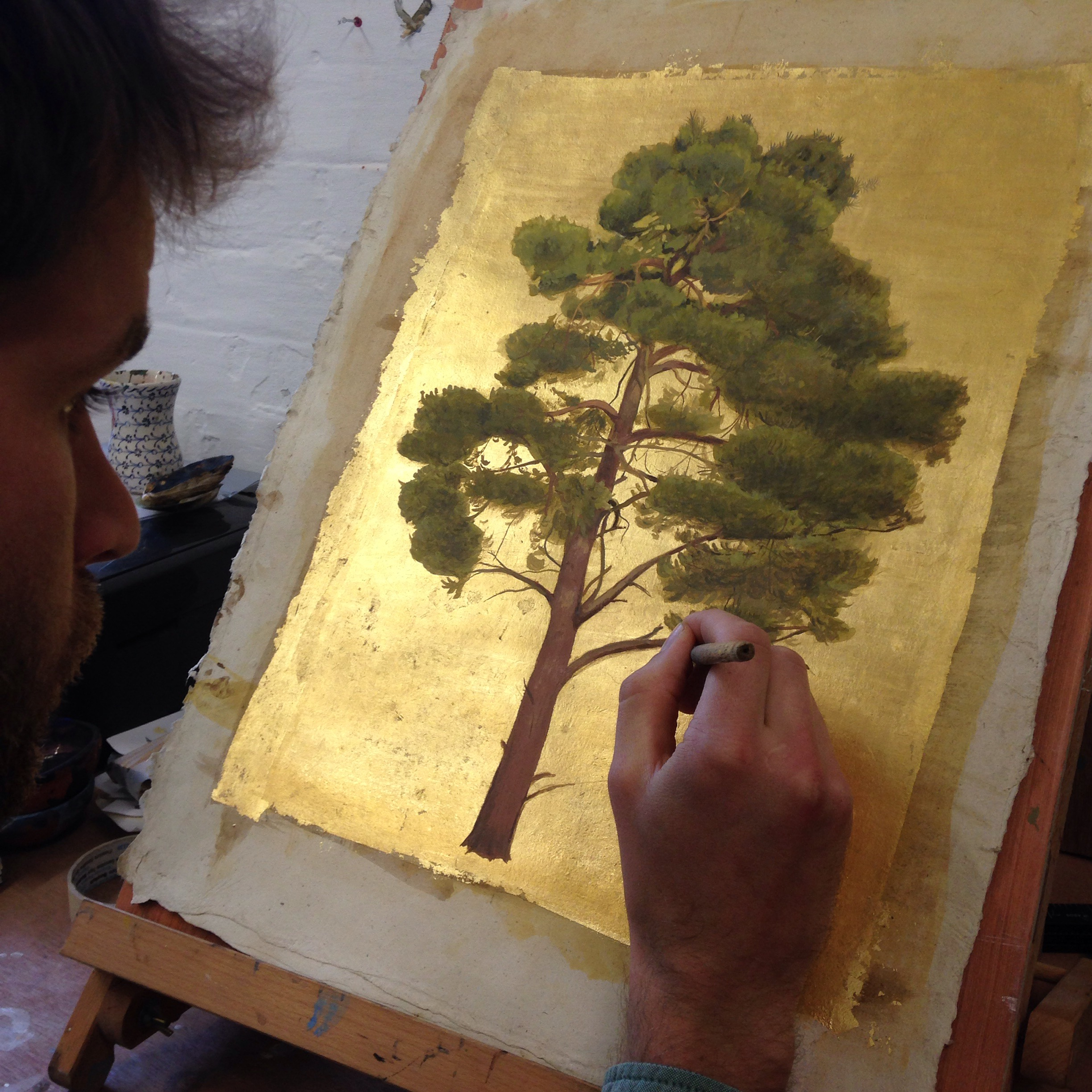"""The London Art fair opens tomorrow and is on until January the 22nd. 'The Scots Pine' will be there! In the Crane Kalman booth.For sale. It is a portrait of a tree I know well on the outskirts of Wytham woods in Oxford.  Lost     A native American Elder was asked,    """"What shall we do if we get lost?""""   Stand still. The trees before you and the bushes beside you are not lost.  Wherever you are is a place called here,  and you must treat it as a powerful stranger  both asking to know and be known.  Listen. The forest whispers,  """"I have made this place, you can leave and return once again  saying, here.""""  No two trees are the same to Raven,  no two branches the same to Wren.  If what a tree or a branch does is lost on you,  you are truly lost.  Stand still. Listen.  The forest knows where you are.  Let it find you.  by David Wagoner"""