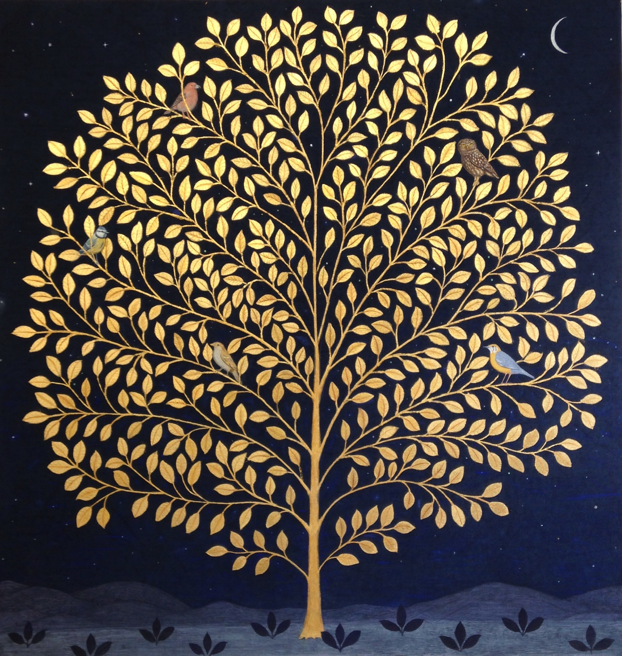 The Night Tree  Gold leaf on Indigo dyed Linen  48 x46inches