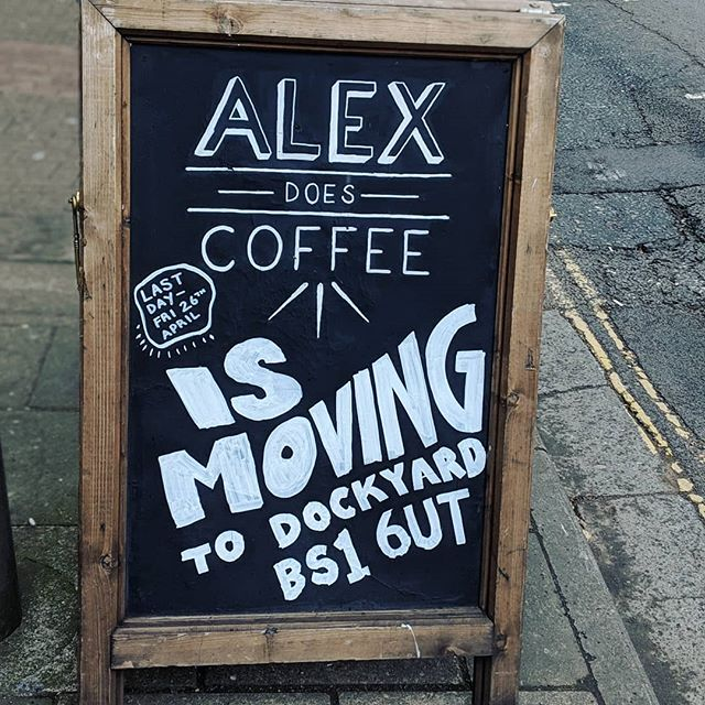 It's Alex's last day!!! 😟 Sadness, but also SO much excitement for both Sam and Alex ✨  Alex will be over at @dockyardbristol hanging by the water, and Sam will be working @hidden_temple_clothing full time with Riley on the top floor of Two's! 🐾  Come and have a final coffee/toastie/snack or just come and say bye! ☕  Also keep your eyes peeled for the next independent business coming into the space... 👀
