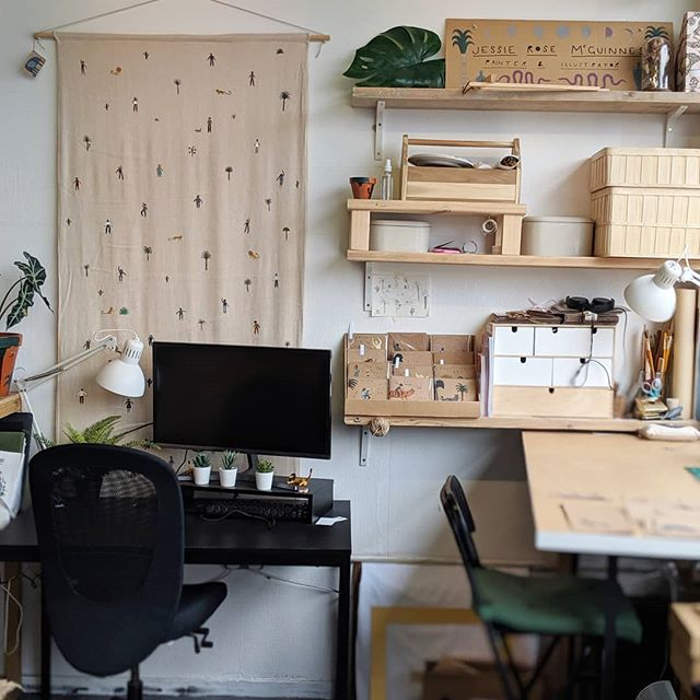 Paddy and Jessie's space! 🐅  Paddy is an animator and graphic designer and Jessie is a painter and illustrator.  We love it when people make their space their home and it just oozes their vibe. This week we're going to show you some snippets of what homey touches our studio holders have created ❤️
