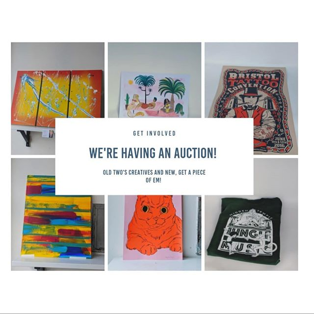 Check out our Facebook auction LINK IN BIO for Two's Company studio pieces!! 🔥  ENDS SUNDAY MIDNIGHT.  Includes work from @jacknifeprints @hiddentemple_bristol @jessieroseillustration @backroomboyart @notnowstudio