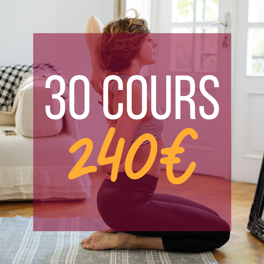 30 COURS =  240€    💥 Soit  8€ le cours !  📆 Valable  6 mois