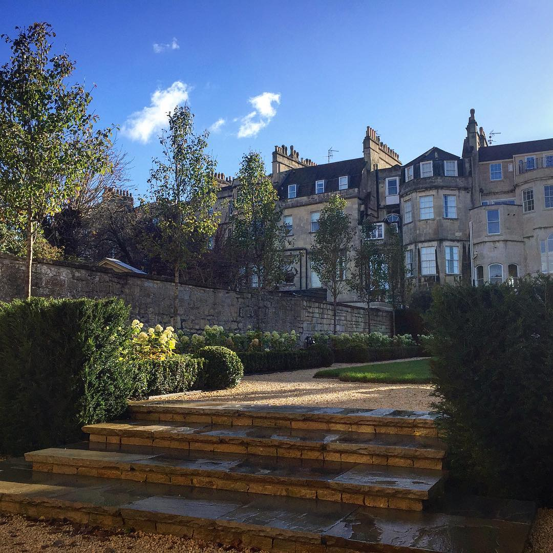 Great to add the finishing touches to this fantastic design on the Royal Crescent in Bath. Pyrus 'Chanticleer' and Hydrangea 'Limelight' providing some loose forms to contrast the formality of the Buxus and Taxus lines.