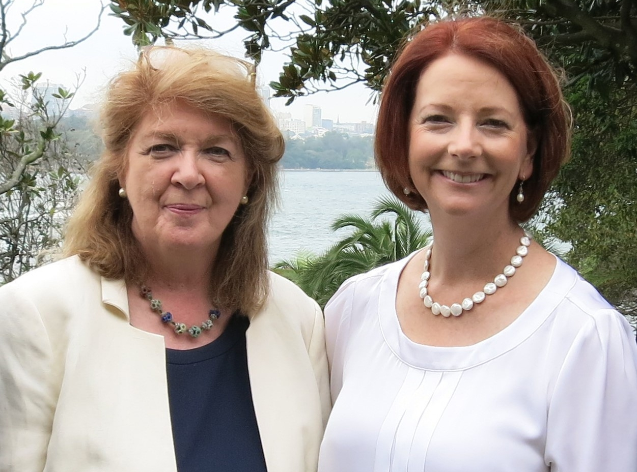 12th January 2013, Sydney - Former Prime Minister of Australia, the Hon. Julia Gillard MP pictured with Margaret Humphreys CBE, OAM