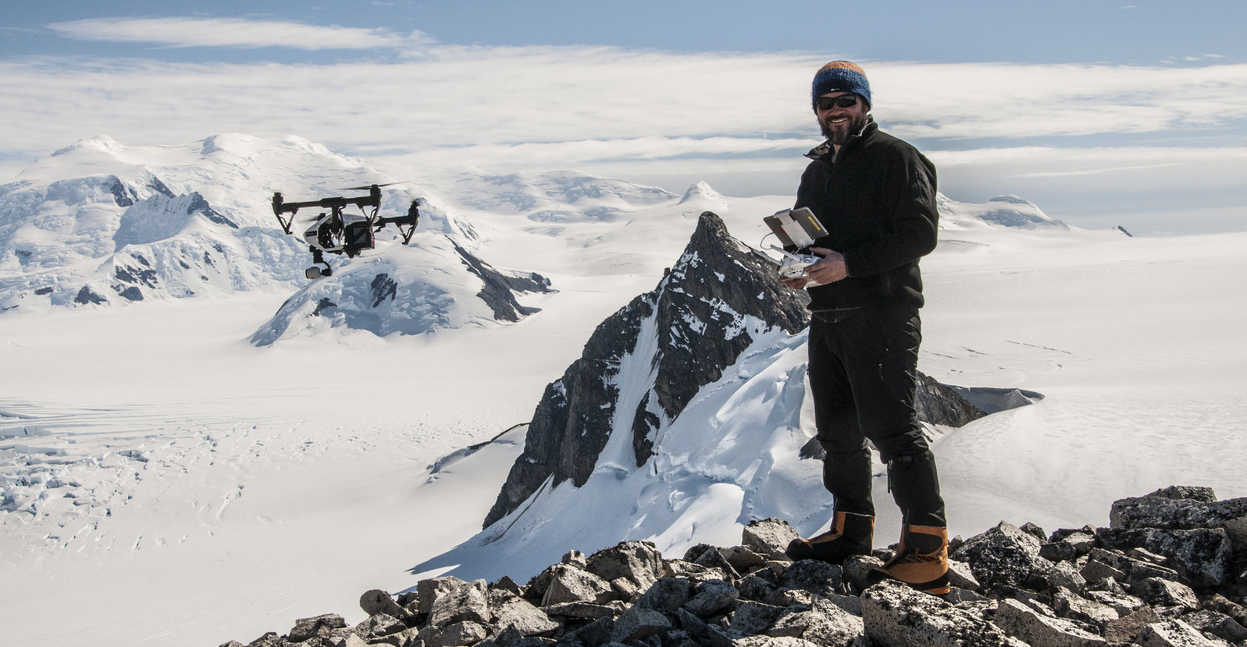 Filming with the drone on a mountain called Stork in Antarctica 2017