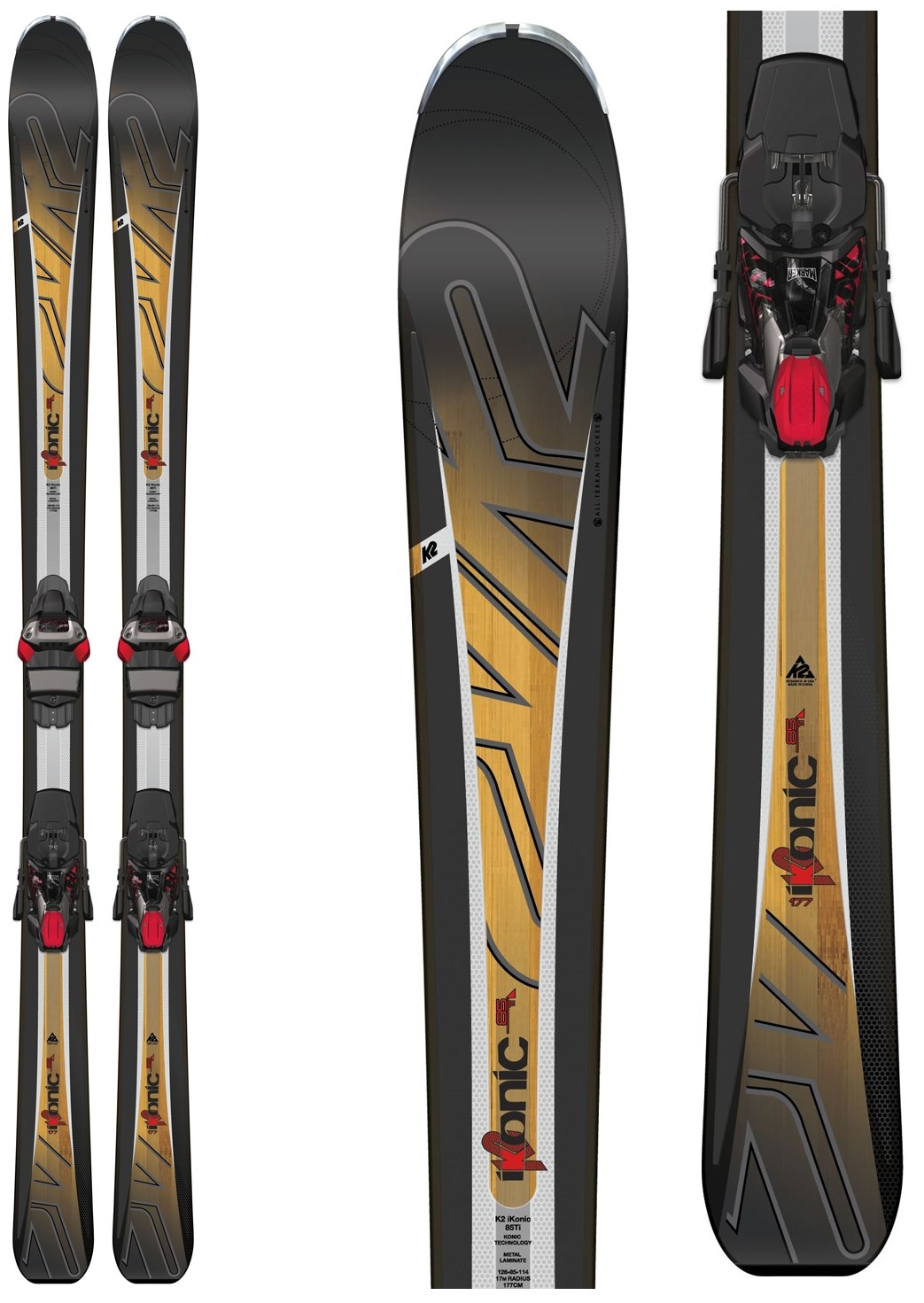 K2 iKonic 85Ti Skis with Marker MXC 12TCx Bindings, $900