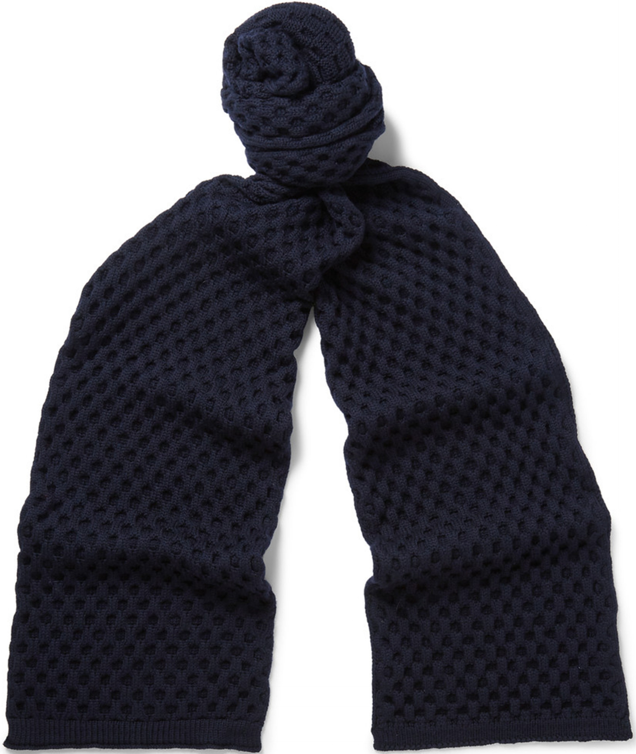 Jil Sander Blue Honeycomb-knit Wool Scarf from Mr. Porter, $365