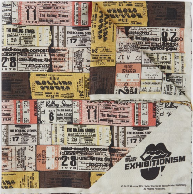 Turnbull & Asser x Rolling Stones Ticket Stubs Silk Pocket Square, $145