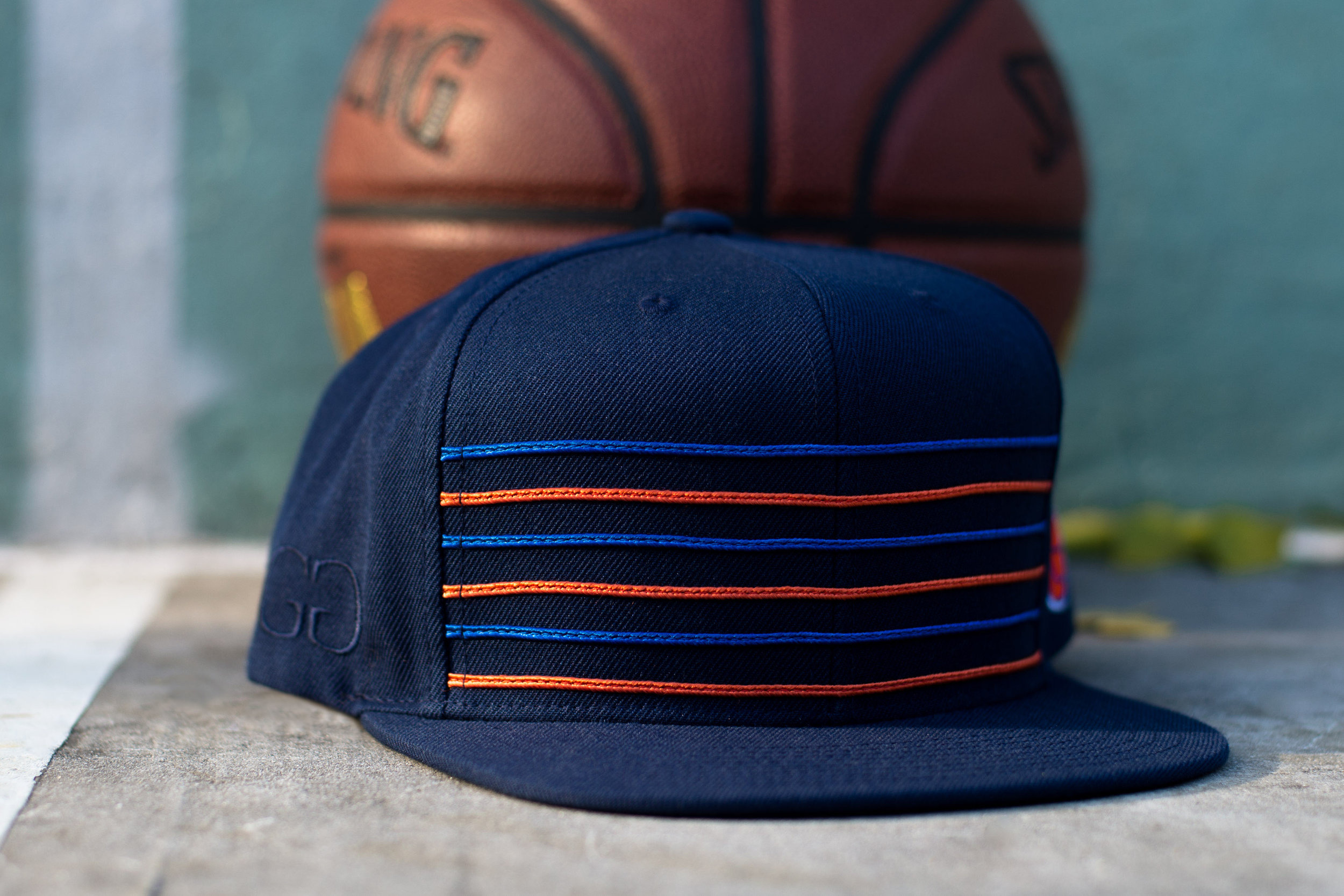 Mitchell /& Ness Texture Stripe Denim New York Knicks Blue Snapback