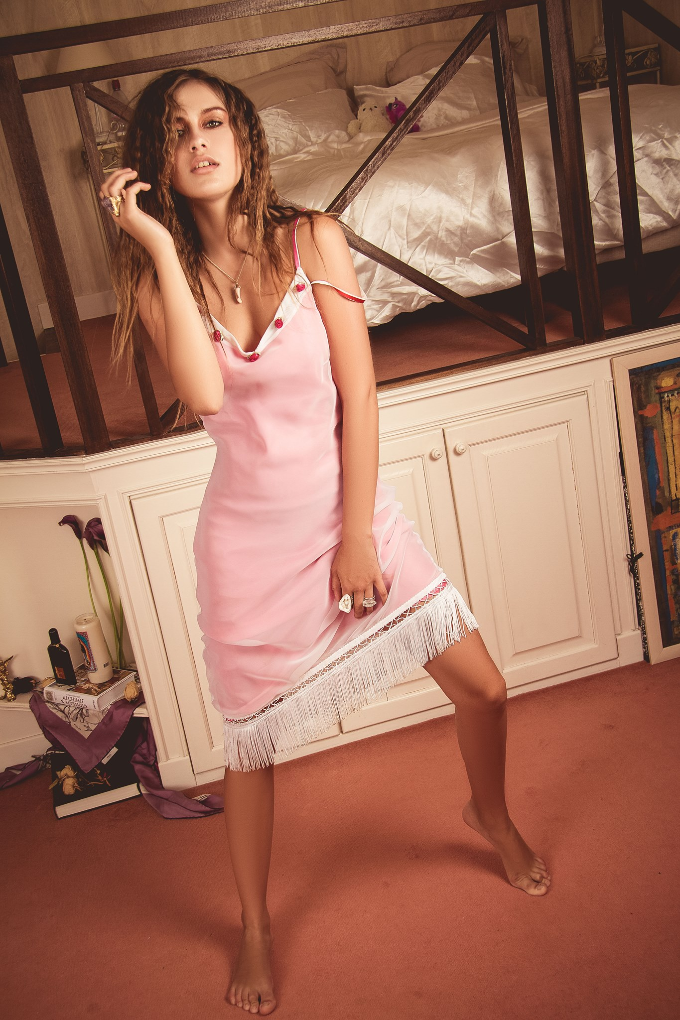Outfit 8: White Toga Dress: STYLIST'S OWN: by Oscar De La Renta