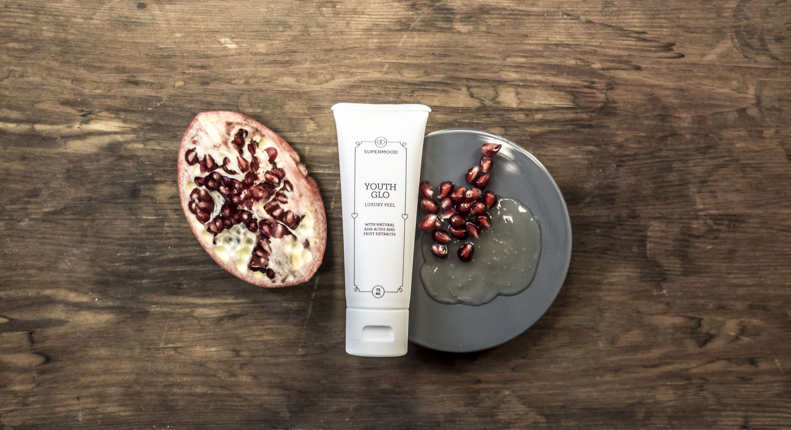 Youth Glo: luxury peel with AHA acids and fruit extracts.