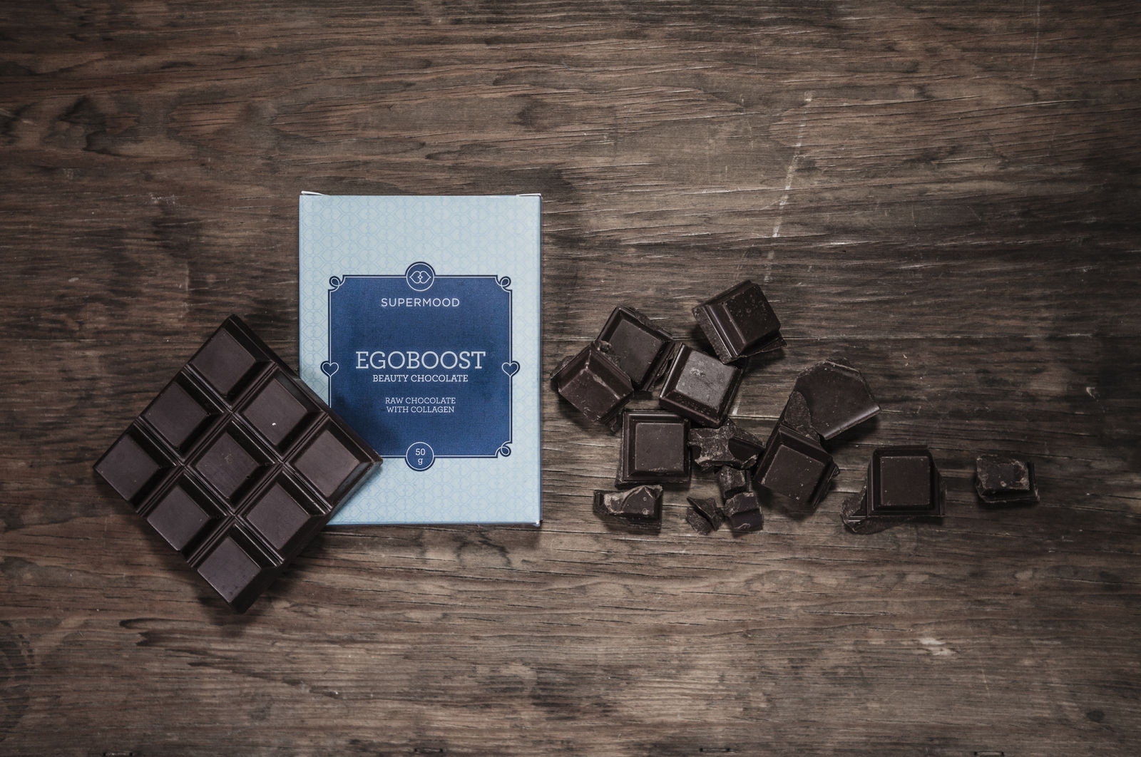 Egoboost: 'Beauty Chocolate', raw chocolate with collagen.