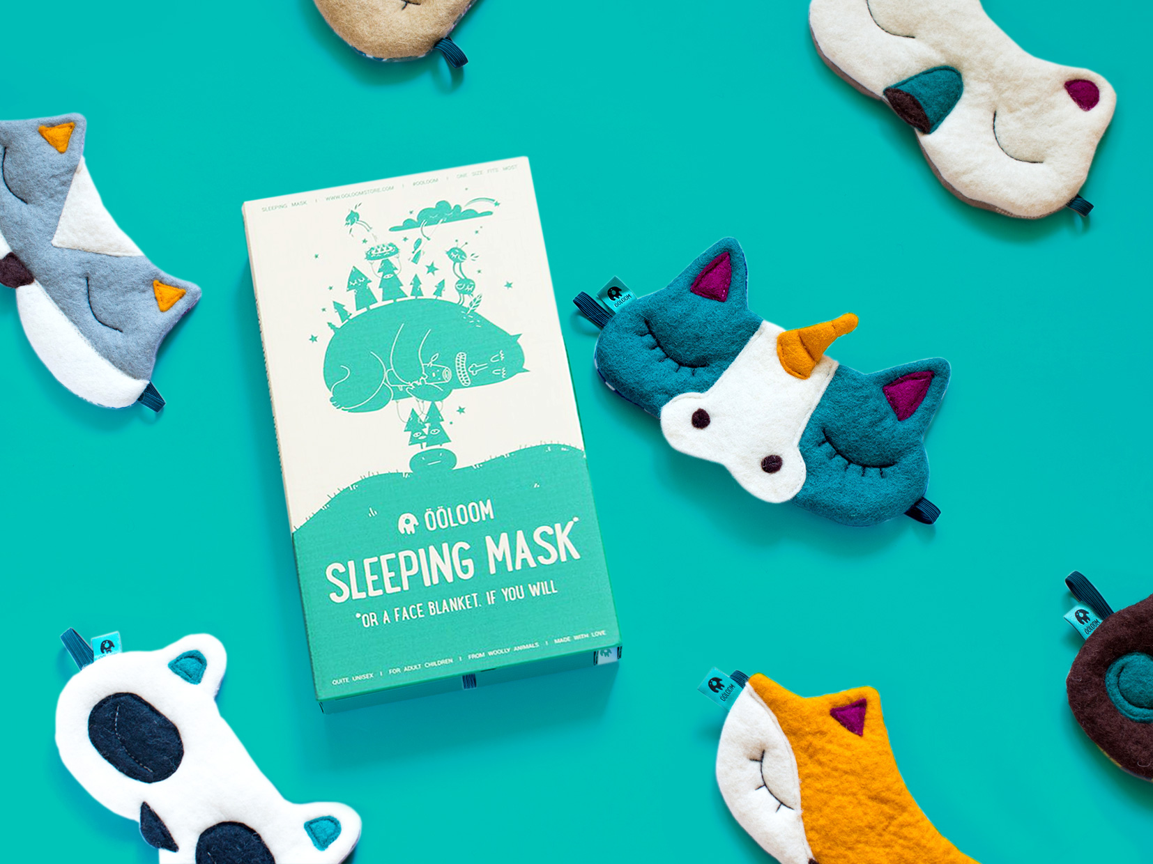 Variety of Ööloom sleeping masks, 2016.