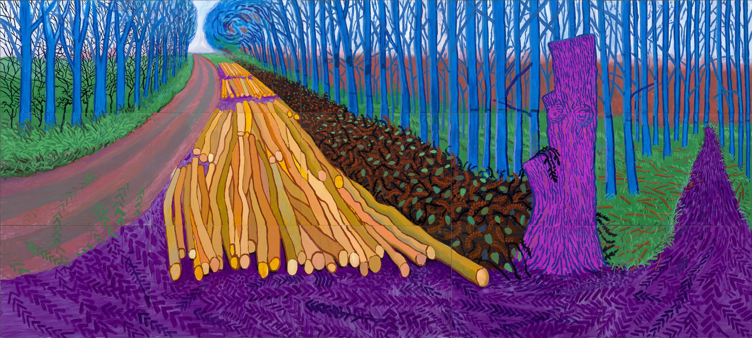 David Hockney: More Felled Trees on Woldgate, 2008.