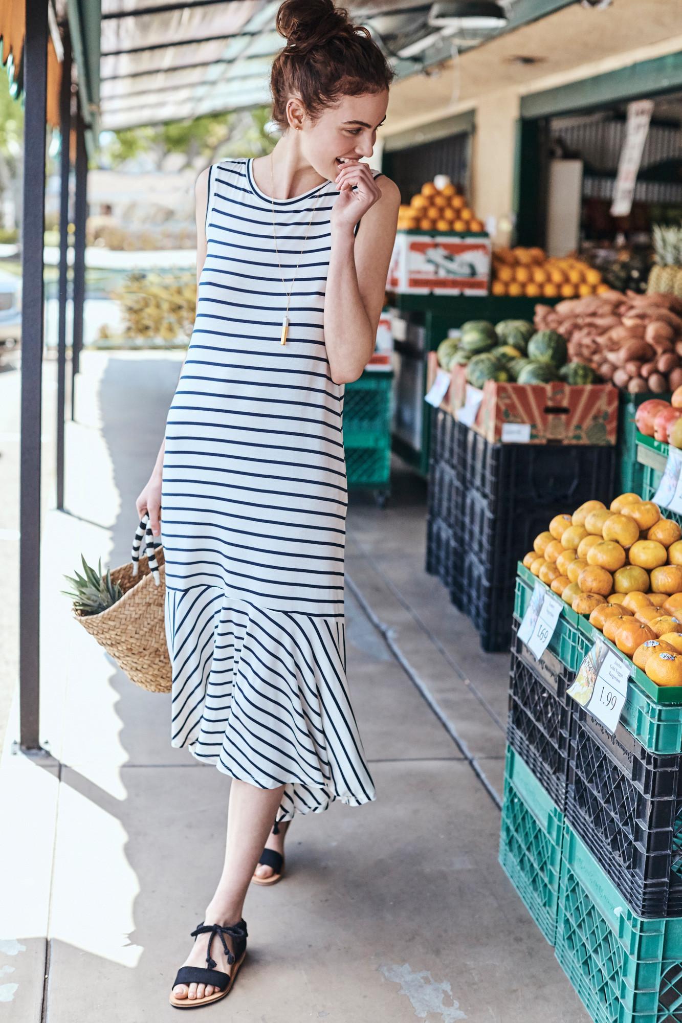 Amour Vert: Marine Stripe Dress - Shop via Amour Vert