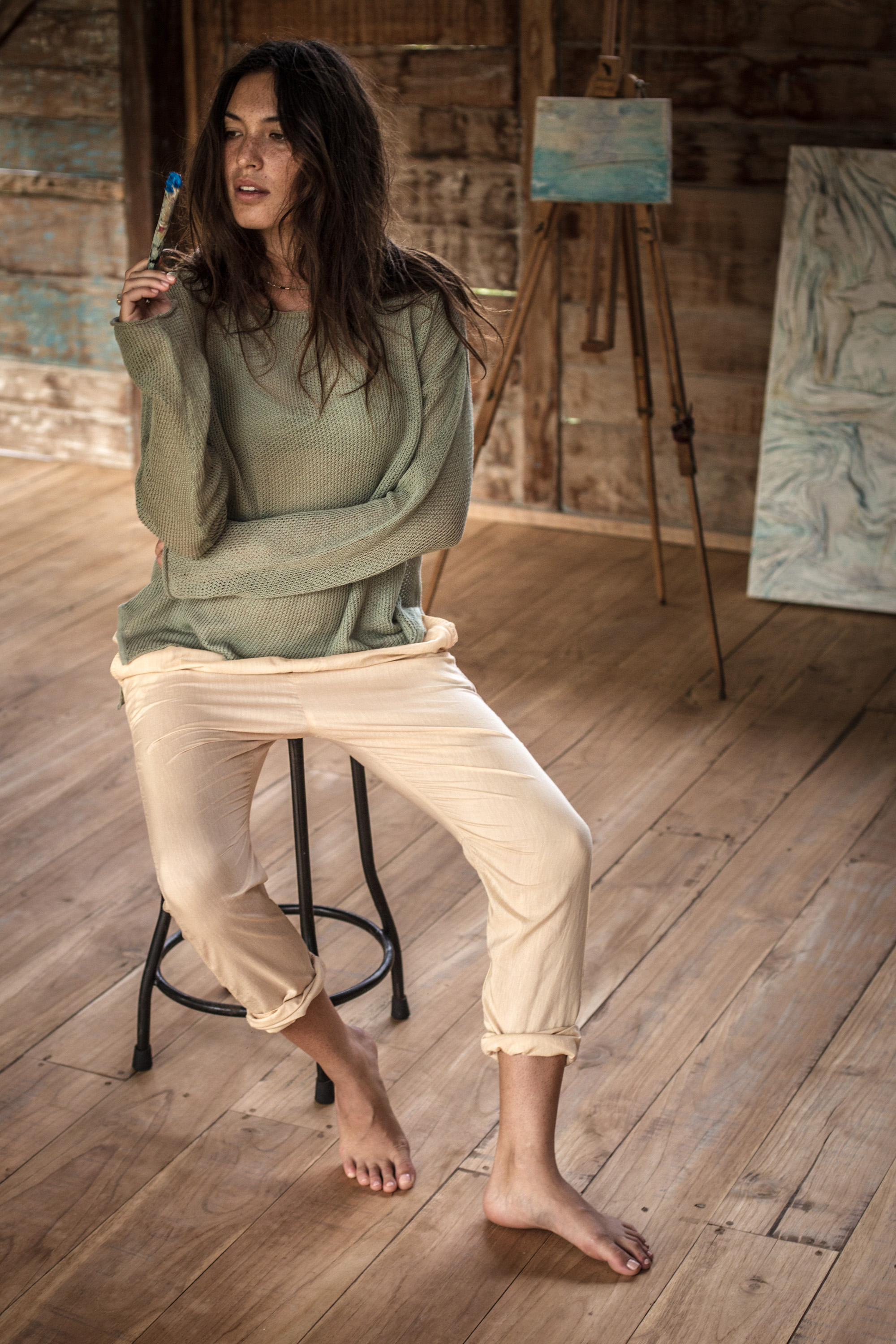 WE-AR: Fine Knit Sweater & Spring Pants -