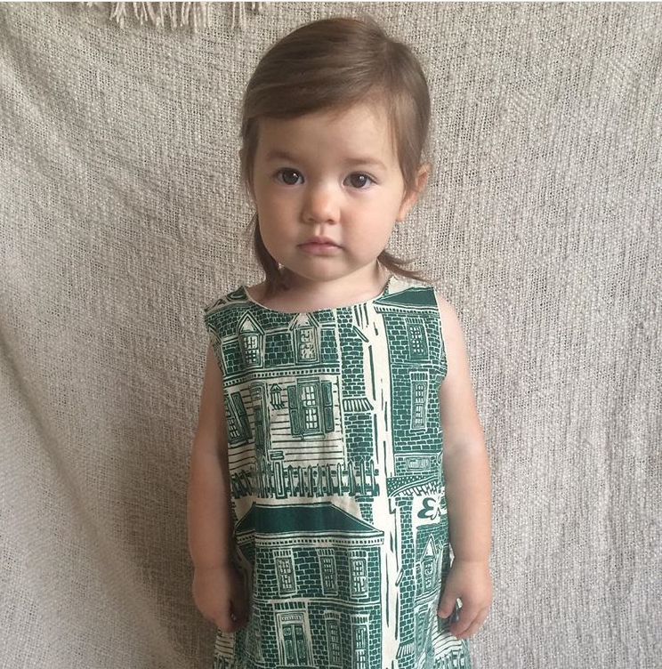 #boburbs! vintage house prints on her own little stunner, Arlan.