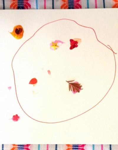 Remi's doodle atop a Saving Grace fabric