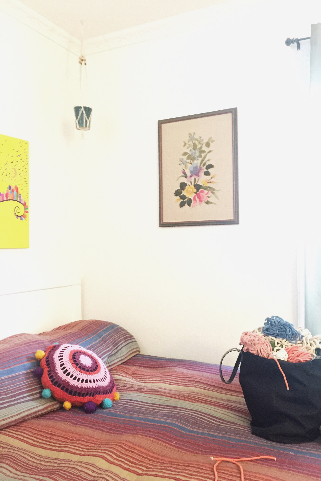 Gypsy Walls: Macrame plant holders, embroidered pillows, and yarn-stuffed sacks.  I started making things again when Jimmy was a baby in 2013, mostly crocheting.