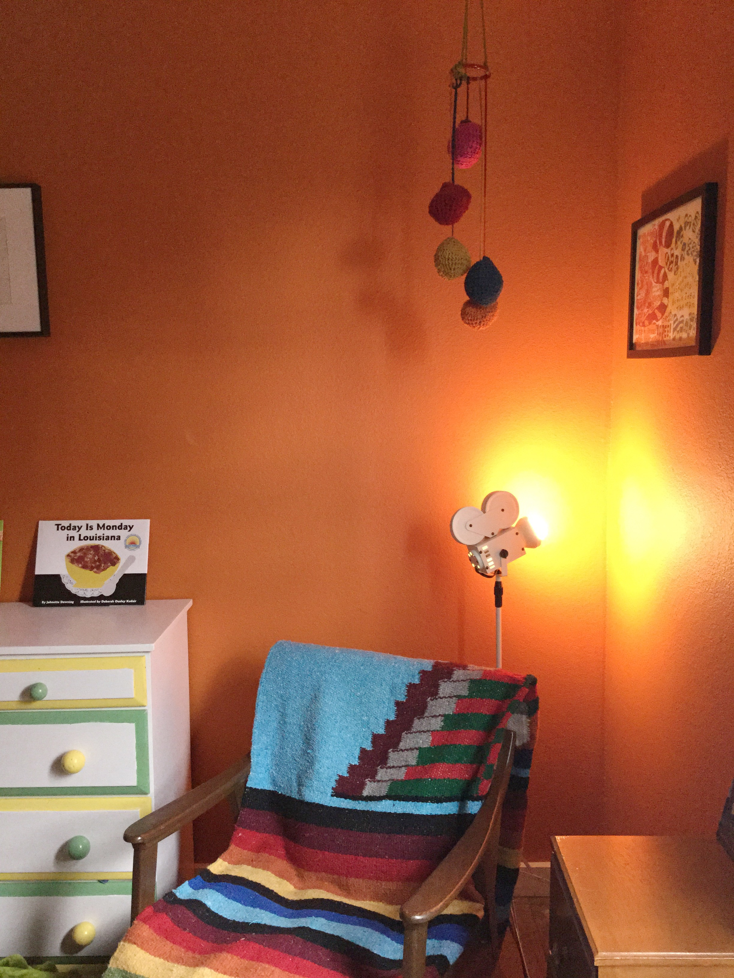 Bright, bold vintage boy's room garnished with collected treasures.