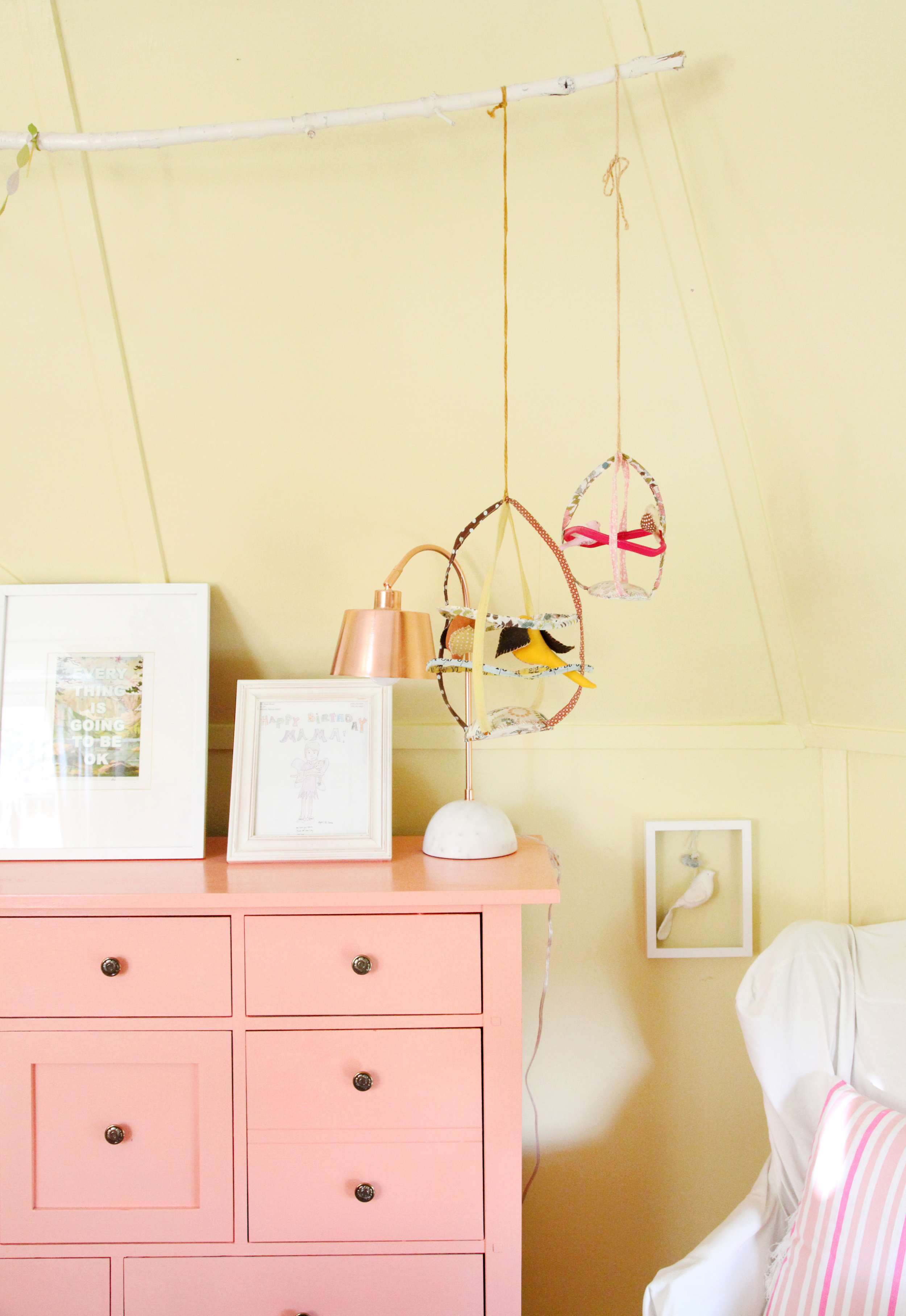 Birdcages from one of my fave artists,   Tamar Mogendorff  ….a dresser I painted, a Target lamp I am newly obsessed with.