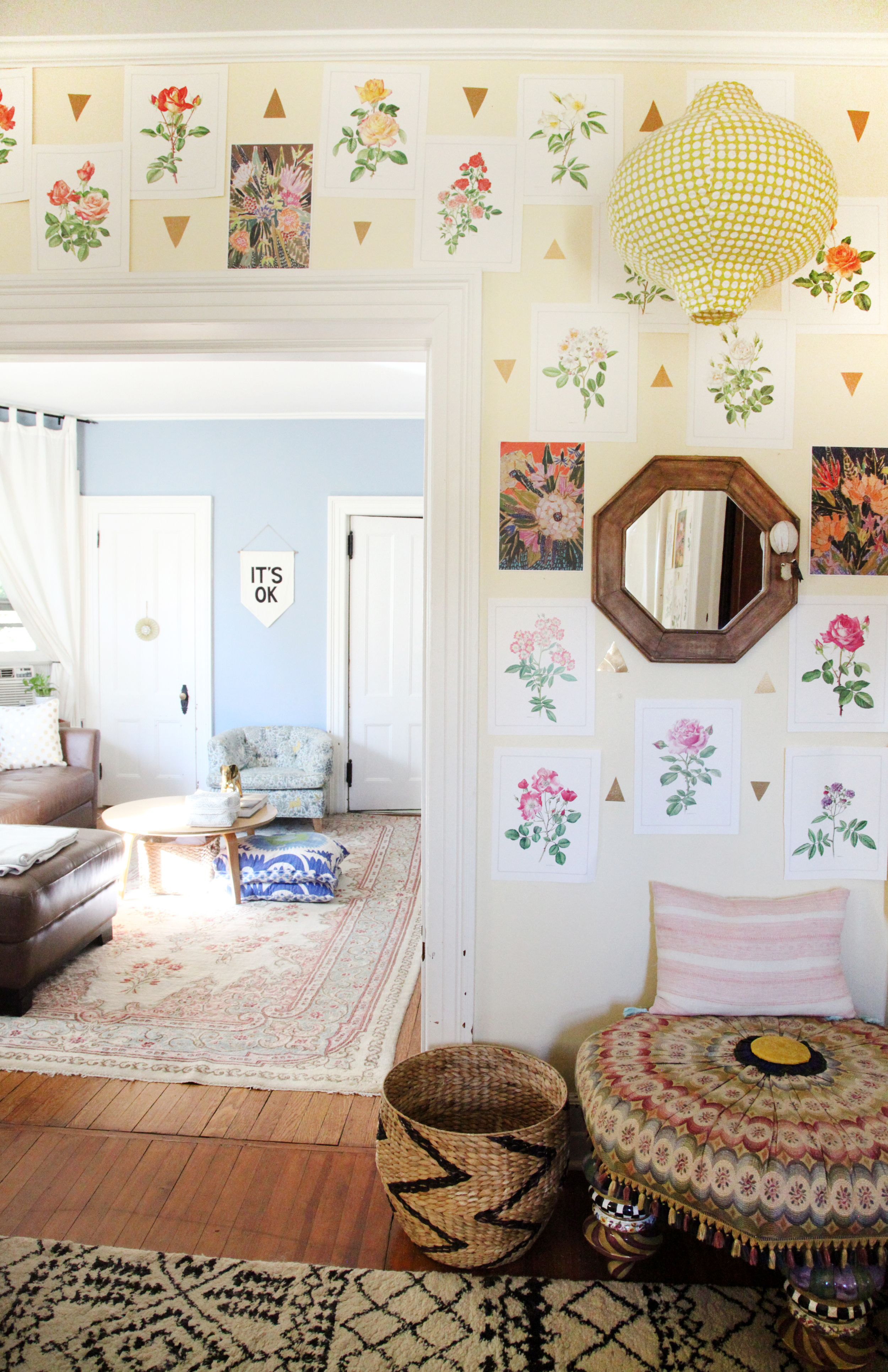 """The botanical prints are a mixture of pages from a Lulie Wallace calendar & pages from a book on roses. """"It's Ok"""" banner by   Secret Holiday Co."""