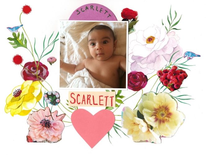 Handmade collage by Heather for Scarlett's birth announcement