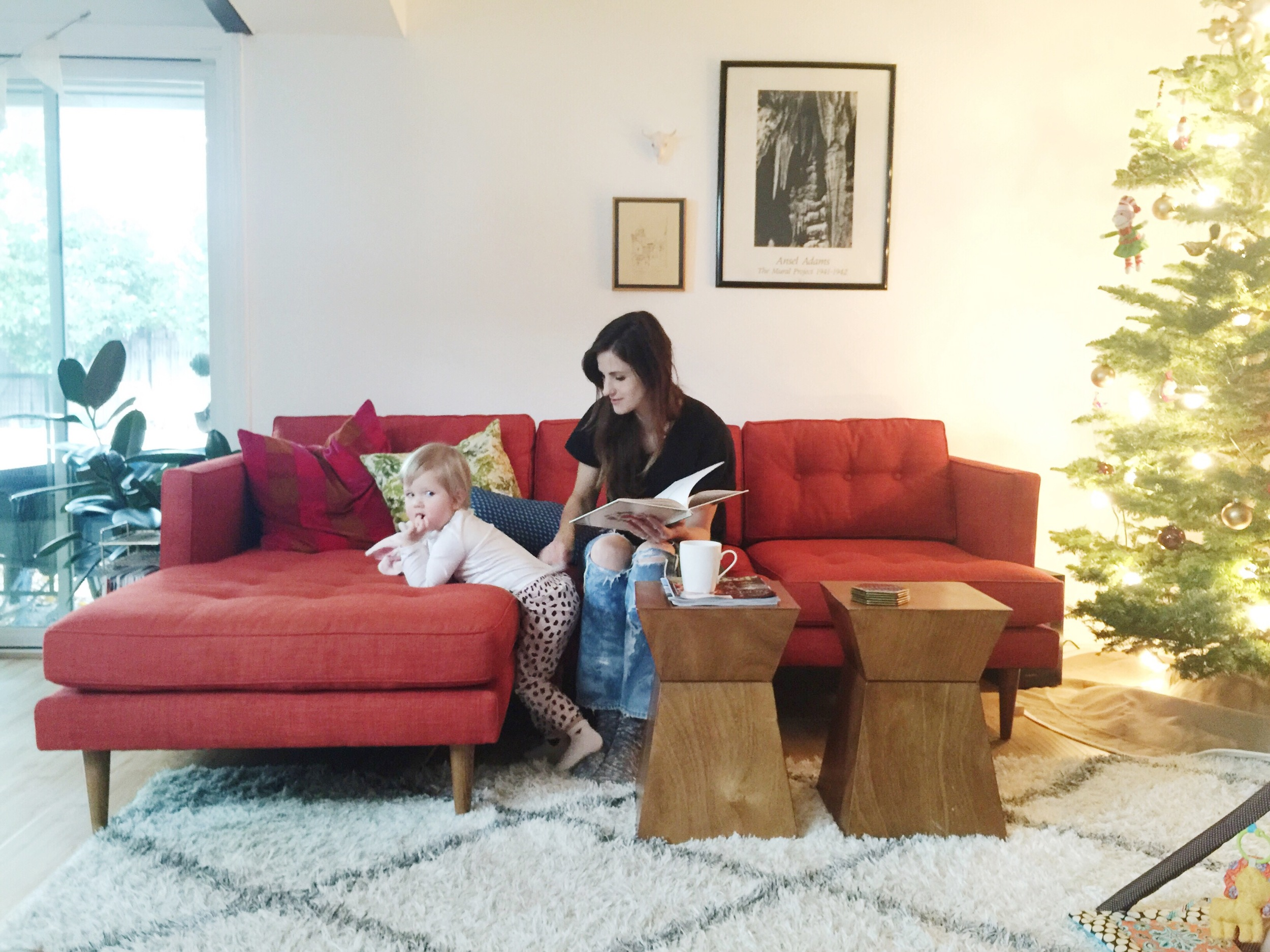 Simple warmth in a crimson baseless sofa, a geometric coffee table pair in wood by the tree.