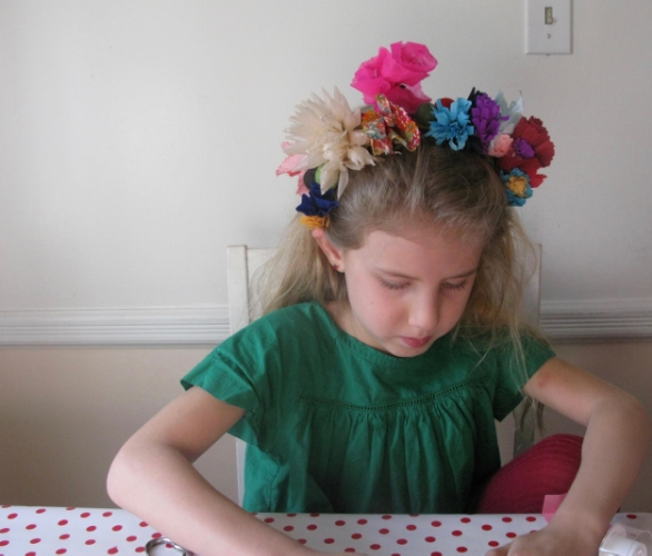 Nancy's own daughter Scarlet helps craft and model.