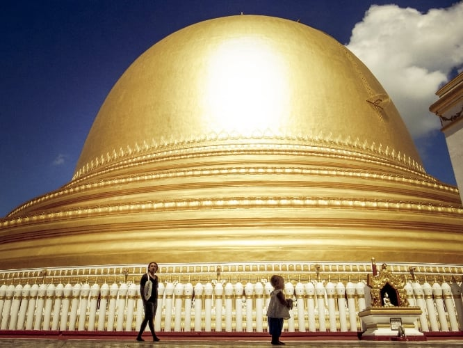 Milla +  Dad  atop a Myanmar pagoda. #superfussytravels.