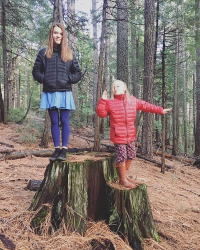 Sisters in the woods.