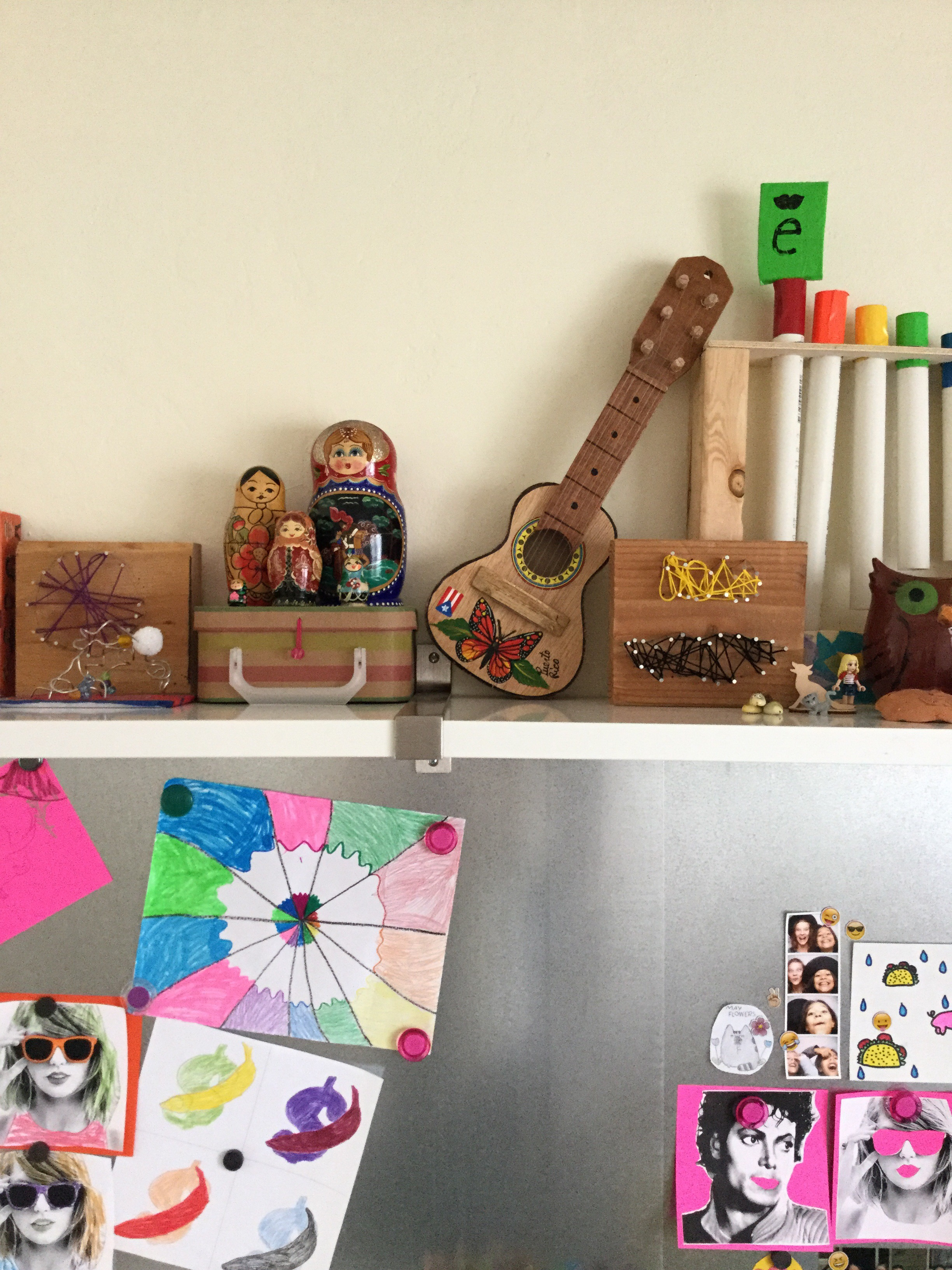 We love the girls mood board with bits and pieces from their travels and favorite places like the Crocker Art Museum.