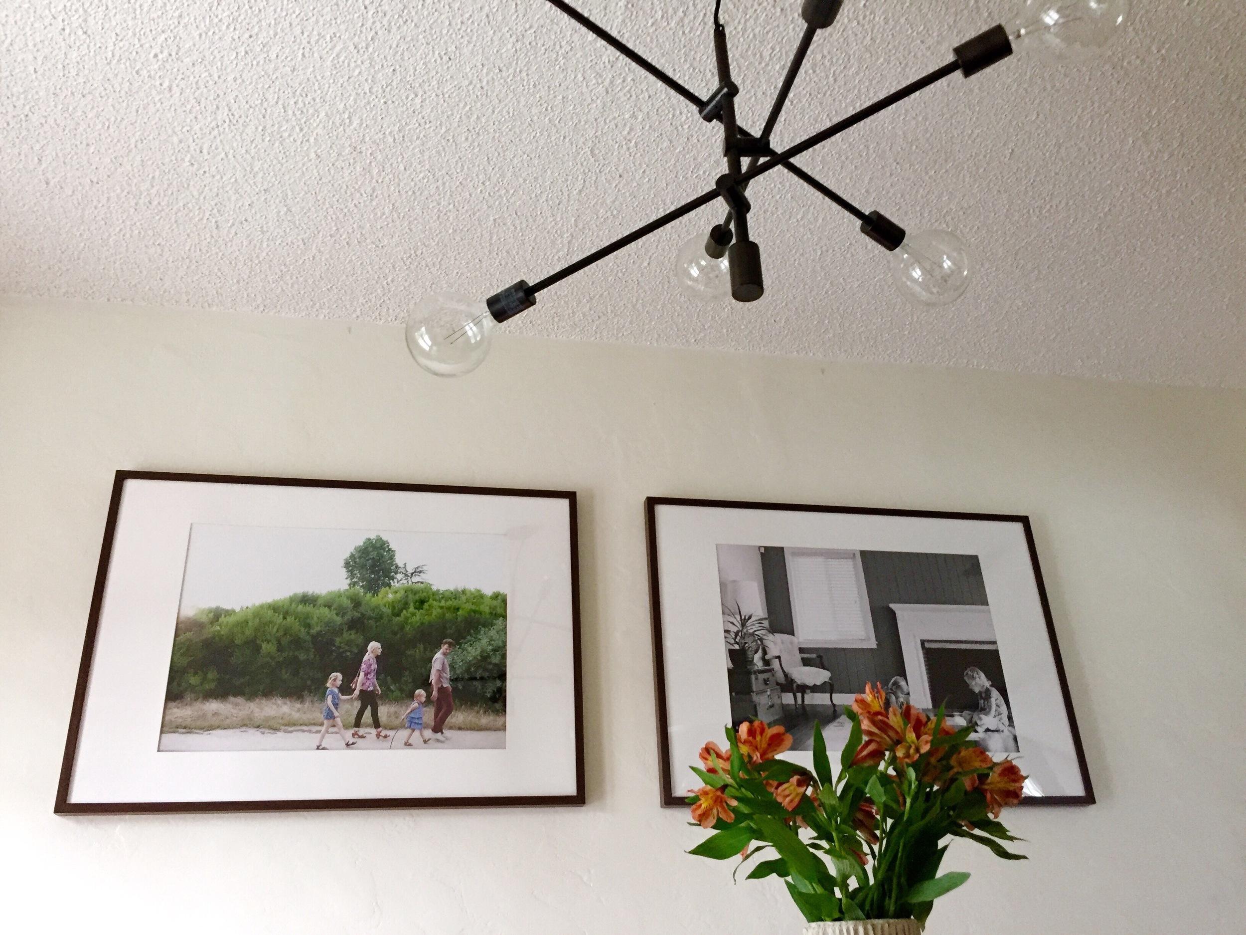 Framed family photos.