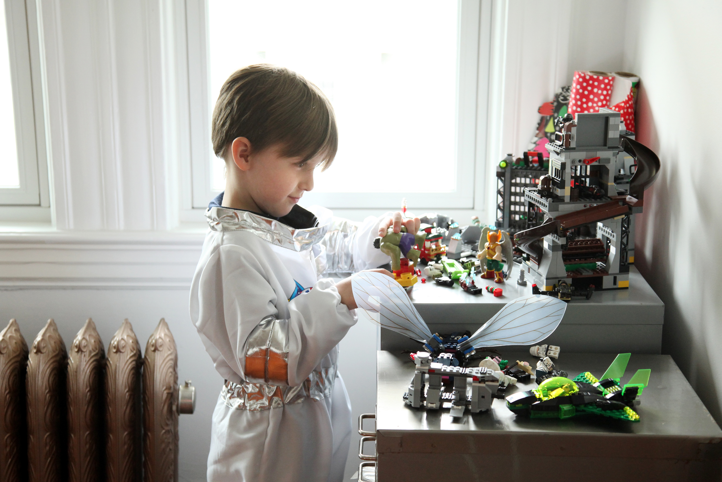 Desi the astronaut at his lego station in the studio.