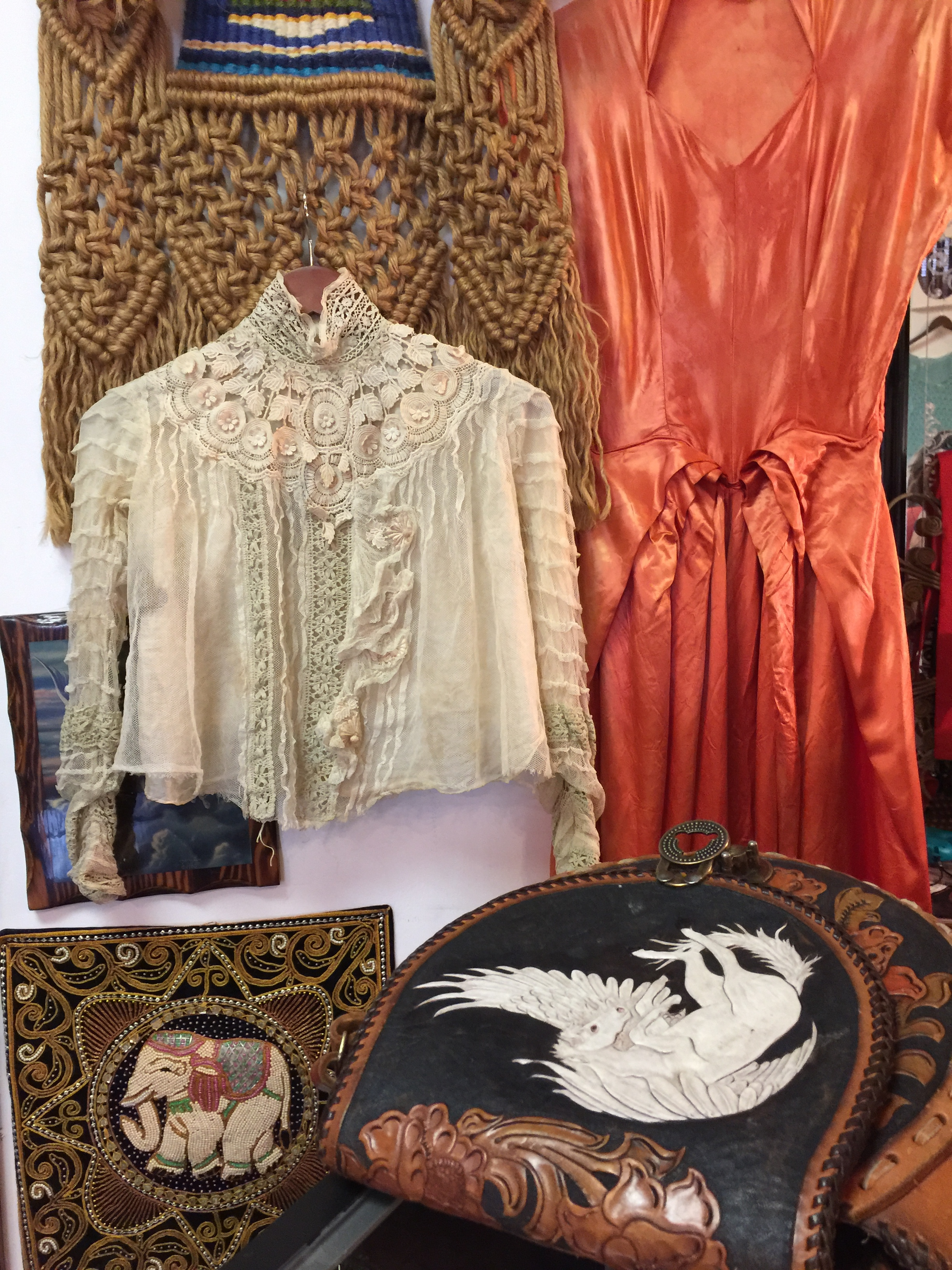 Macrame, silk, tulle, lacework, .....