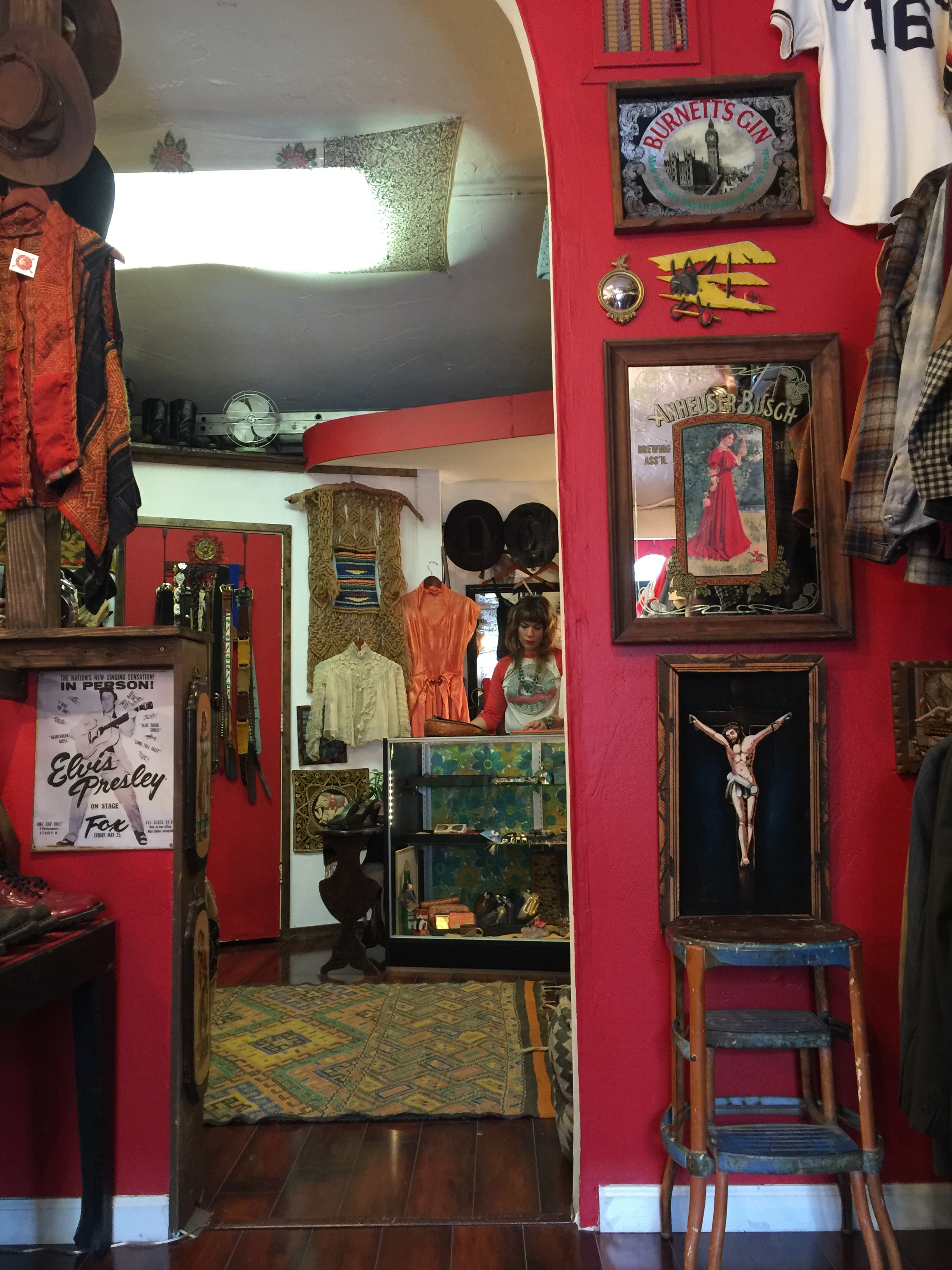 Edwardian blouses, 30s party dresses, southwest casual, and a boatload of hats are common finds at Racks.