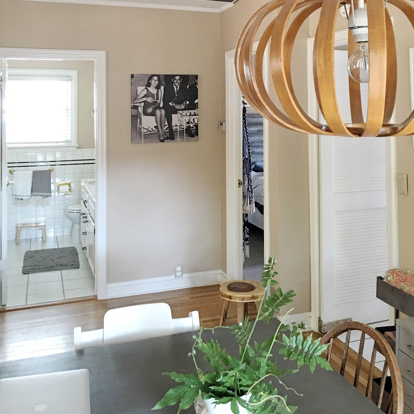 One of the couple's first home purchases: a West Elm light fixture sets the tone.