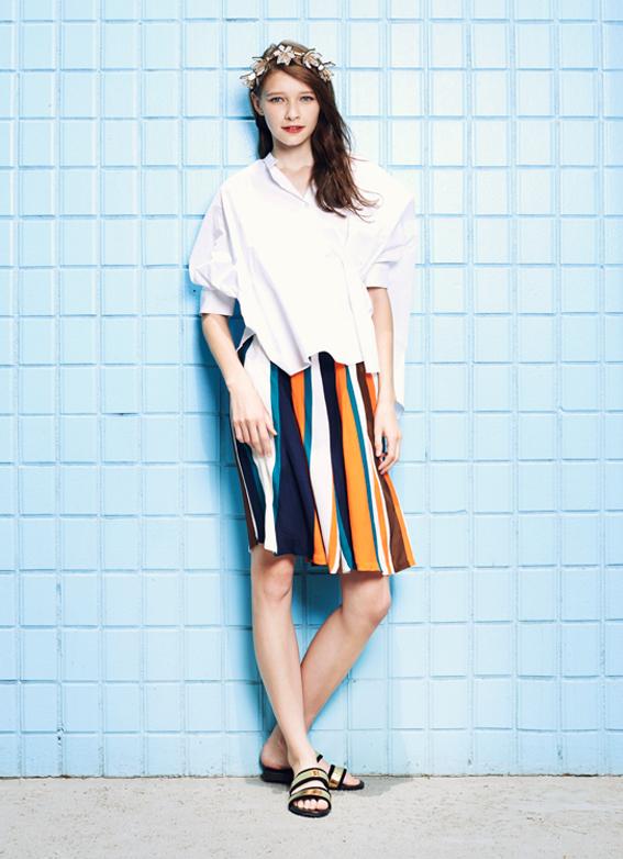 Button Down Shirt & Coloured Striped Skirt
