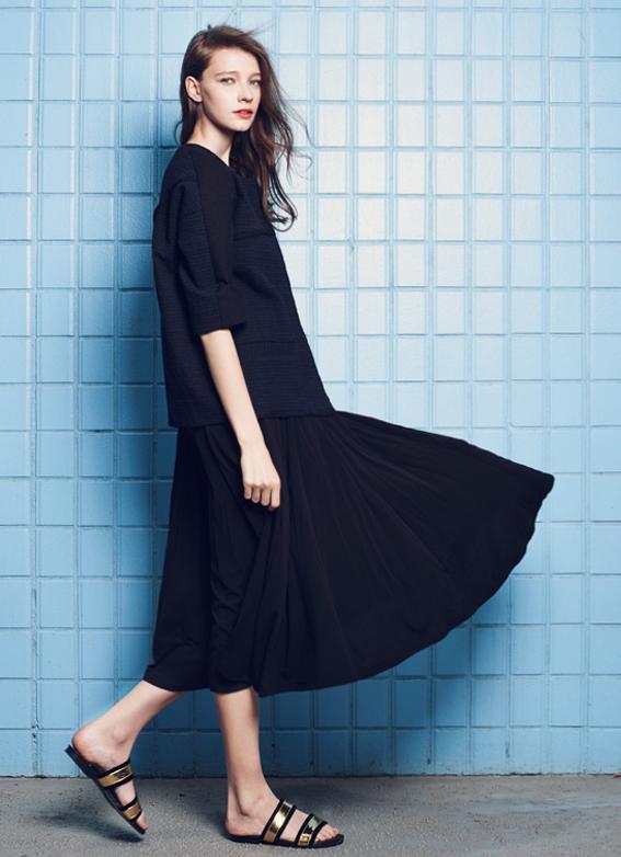 Textured Sleeve Coat &Flow Midi Dress