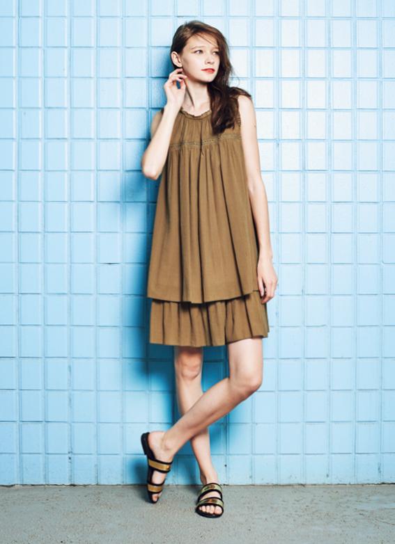 Frill Neck Tiered Dress