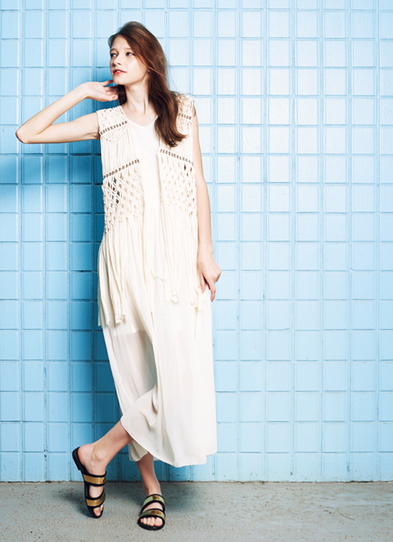 Tassel Hemmed Vest & Side Tied Chiffon Dress