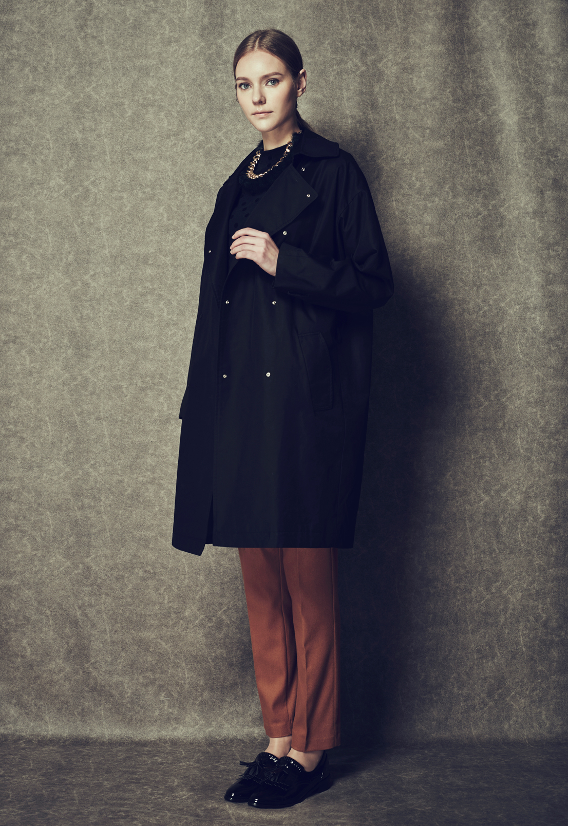Oversized Double Snap Trench Coat & Cosy Trousers