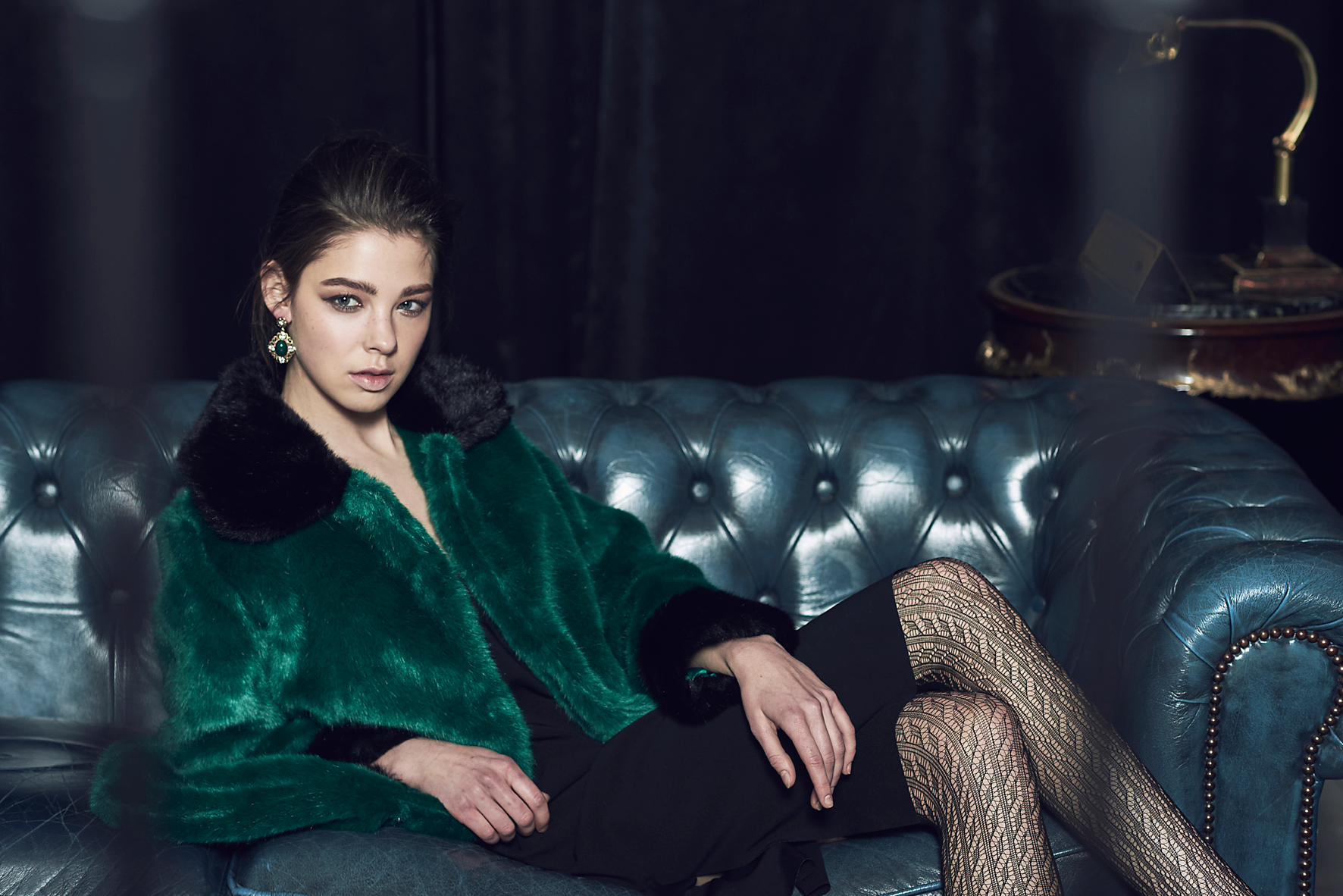 Collared Faux Fur Coat & Side Slit Dress