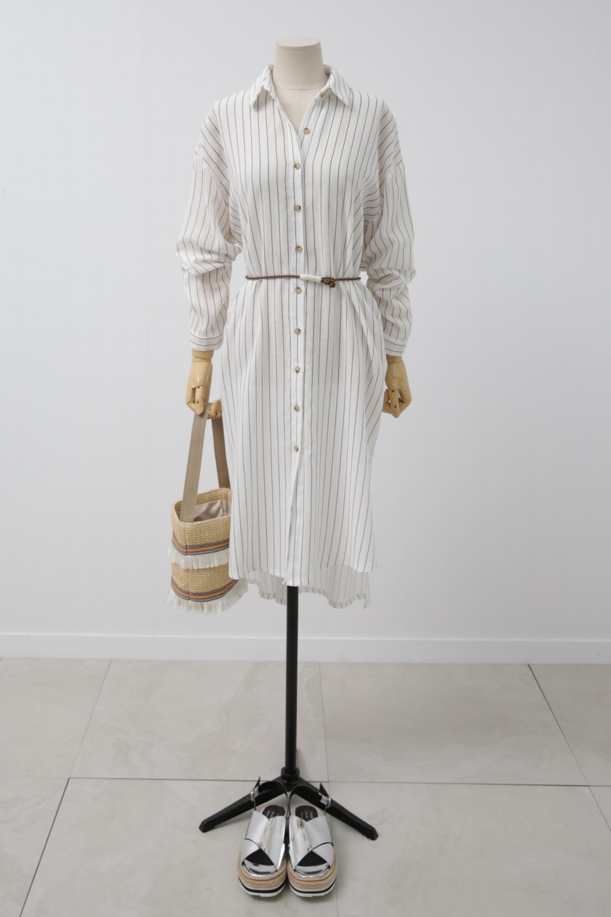 Oversized stripe shirt dress & Frilled beach bag