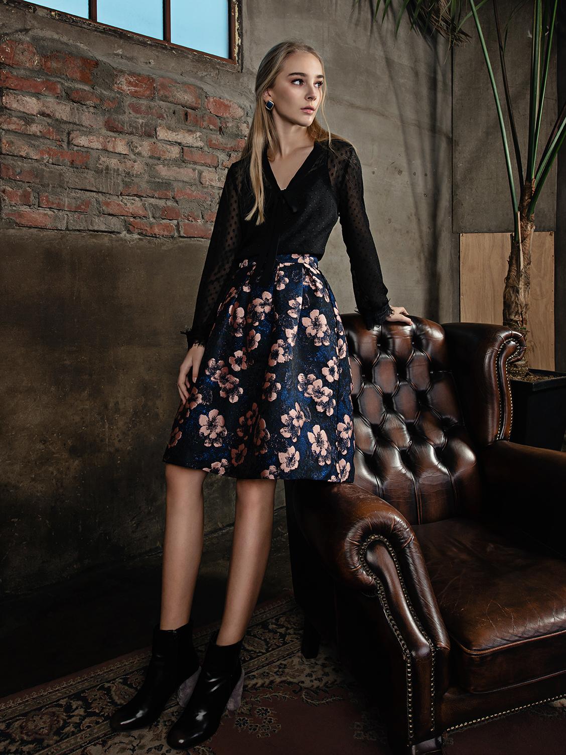 Coloured Faux Fur Coat, Textured Blouse & Side Open Trousers